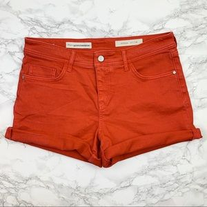 Pilcro and the letterpress Red Cuffed Denim Shorts